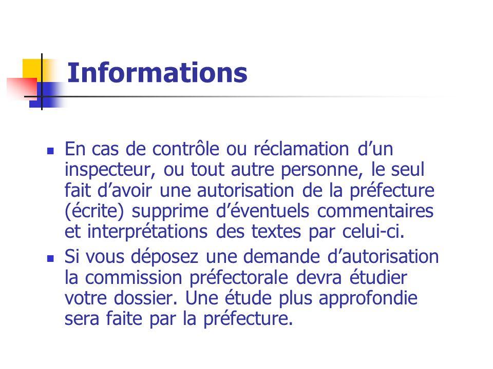 Informations En cas de contrôle ou réclamation d'un inspecteur, ou tout autre personne, le seul fait d'avoir une autorisation de la préfecture (écrite