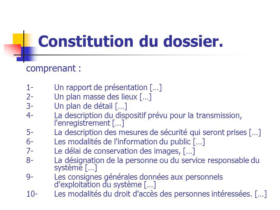 Constitution du dossier. comprenant : 1-Un rapport de présentation […] 2-Un plan masse des lieux […] 3- Un plan de détail […] 4- La description du dis
