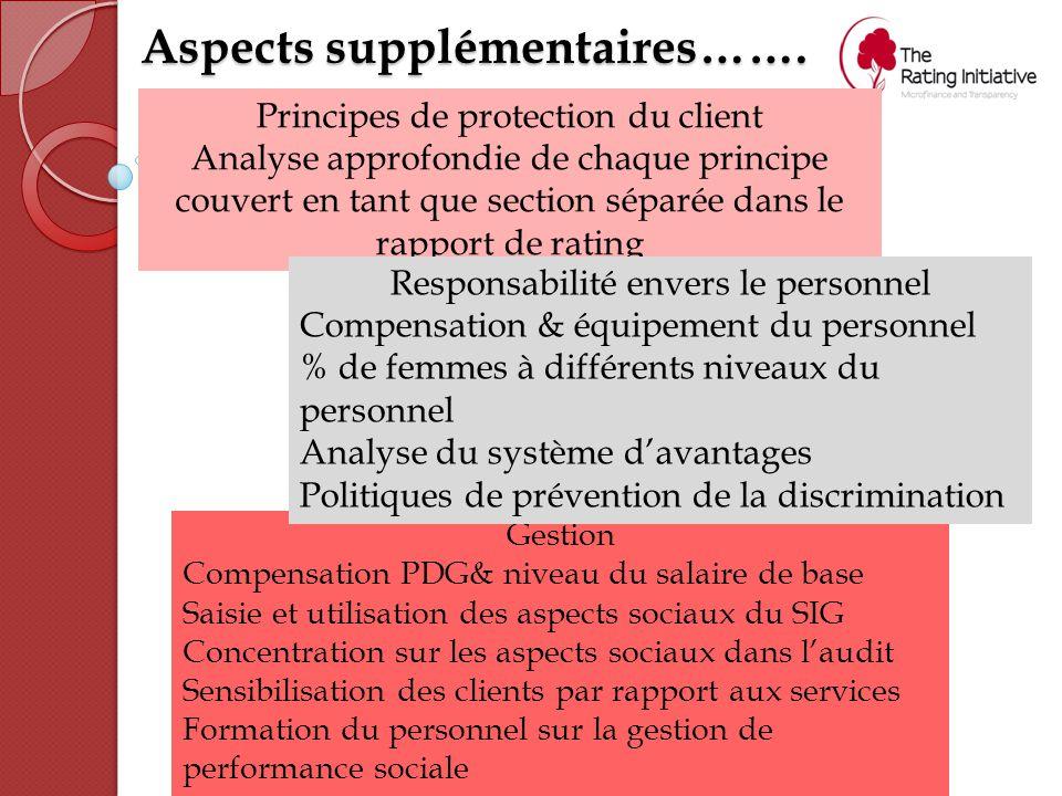 Aspects supplémentaires……. Principes de protection du client Analyse approfondie de chaque principe couvert en tant que section séparée dans le rappor