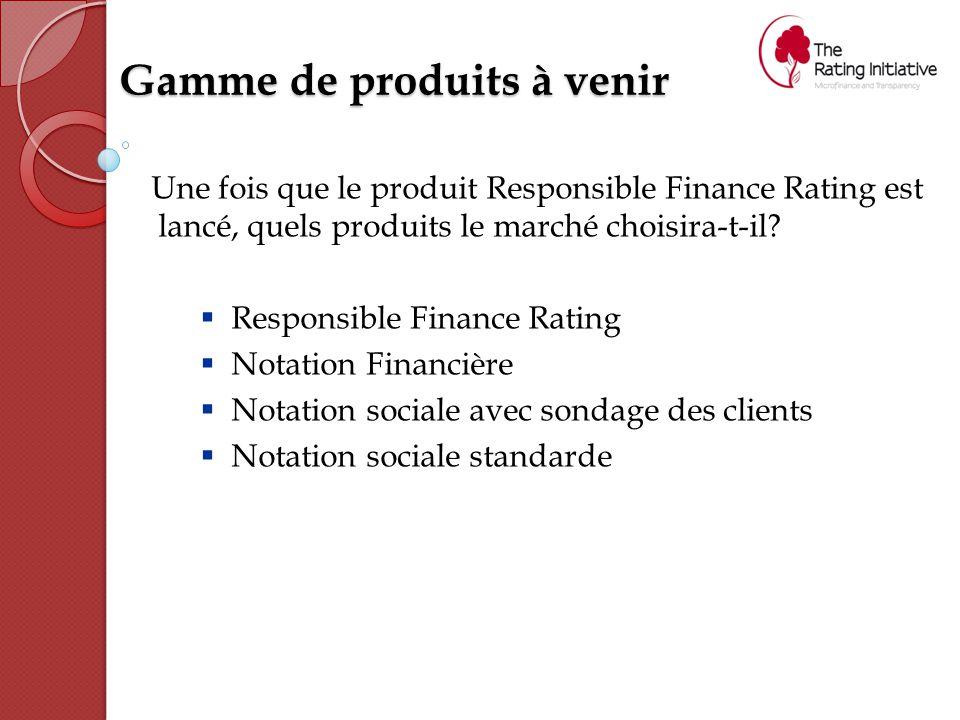 Gamme de produits à venir Une fois que le produit Responsible Finance Rating est lancé, quels produits le marché choisira-t-il.