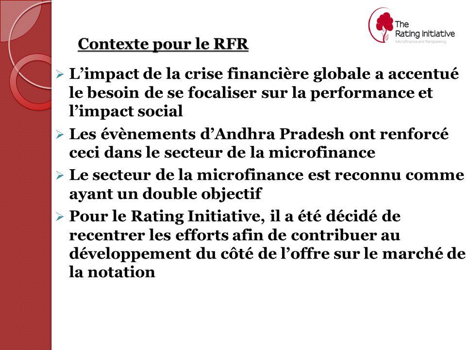 Contexte pour le RFR  L'impact de la crise financière globale a accentué le besoin de se focaliser sur la performance et l'impact social  Les évènements d'Andhra Pradesh ont renforcé ceci dans le secteur de la microfinance  Le secteur de la microfinance est reconnu comme ayant un double objectif  Pour le Rating Initiative, il a été décidé de recentrer les efforts afin de contribuer au développement du côté de l'offre sur le marché de la notation