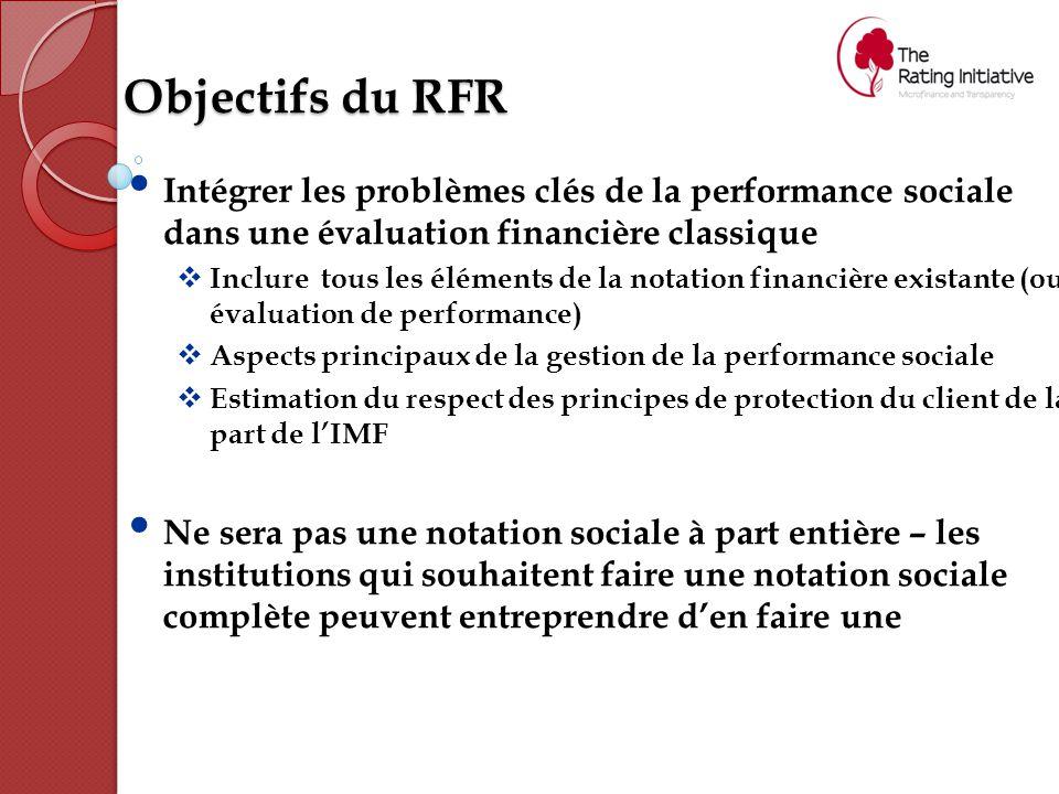 Objectifs du RFR Intégrer les problèmes clés de la performance sociale dans une évaluation financière classique  Inclure tous les éléments de la notation financière existante (ou évaluation de performance)  Aspects principaux de la gestion de la performance sociale  Estimation du respect des principes de protection du client de la part de l'IMF Ne sera pas une notation sociale à part entière – les institutions qui souhaitent faire une notation sociale complète peuvent entreprendre d'en faire une