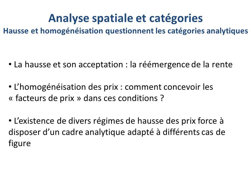 Analyse spatiale et catégories Hausse et homogénéisation questionnent les catégories analytiques La hausse et son acceptation : la réémergence de la rente L'homogénéisation des prix : comment concevoir les « facteurs de prix » dans ces conditions .