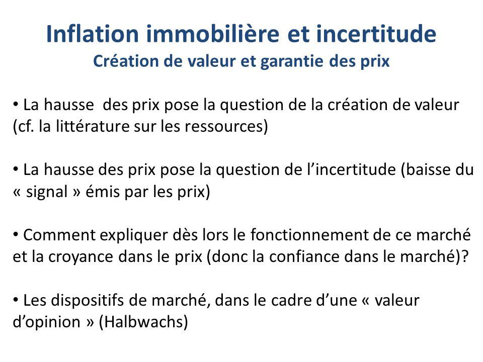 Inflation immobilière et incertitude Création de valeur et garantie des prix La hausse des prix pose la question de la création de valeur (cf. la litt