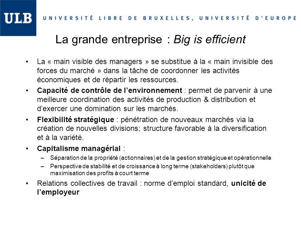 La grande entreprise : Big is efficient La « main visible des managers » se substitue à la « main invisible des forces du marché » dans la tâche de co