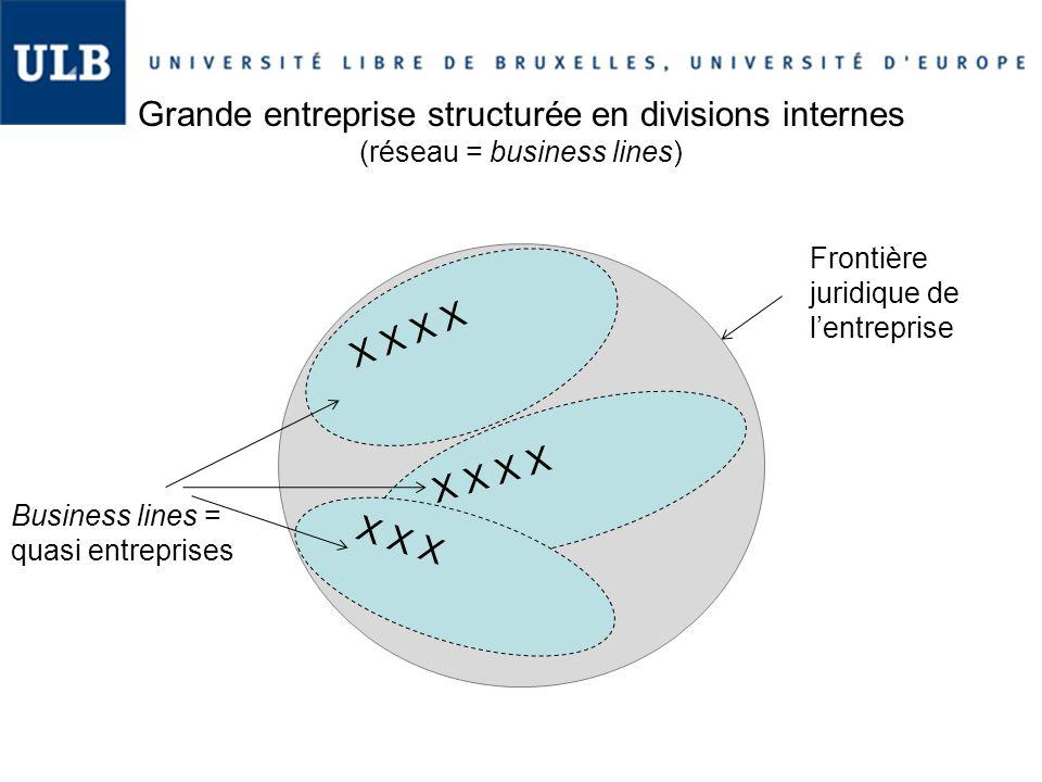 Grande entreprise structurée en divisions internes (réseau = business lines) X X X X X Frontière juridique de l'entreprise Business lines = quasi entr