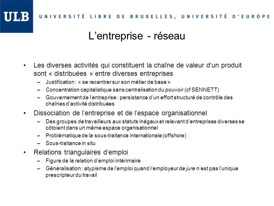 L'entreprise - réseau Les diverses activités qui constituent la chaîne de valeur d'un produit sont « distribuées » entre diverses entreprises –Justifi