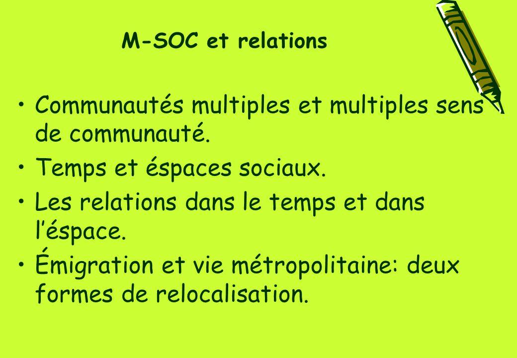 M-SOC et relations Communautés multiples et multiples sens de communauté.