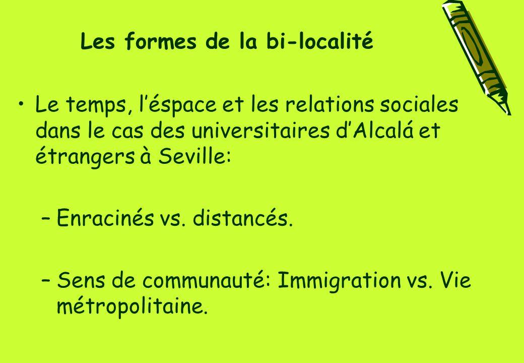 Les formes de la bi-localité Le temps, l'éspace et les relations sociales dans le cas des universitaires d'Alcalá et étrangers à Seville: –Enracinés vs.