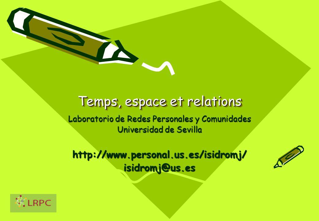 Temps, espace et relations Laboratorio de Redes Personales y Comunidades Universidad de Sevilla http://www.personal.us.es/isidromj/isidromj@us.es