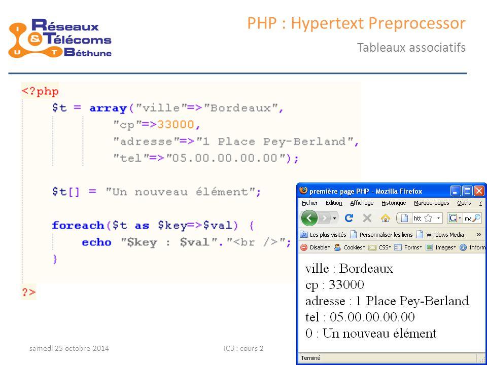 samedi 25 octobre 2014IC3 : cours 213 PHP : Hypertext Preprocessor Tableaux associatifs