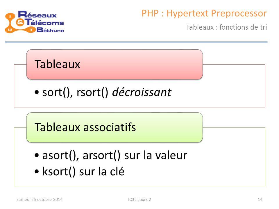 samedi 25 octobre 2014IC3 : cours 214 PHP : Hypertext Preprocessor Tableaux : fonctions de tri sort(), rsort() décroissant Tableaux asort(), arsort() sur la valeur ksort() sur la clé Tableaux associatifs