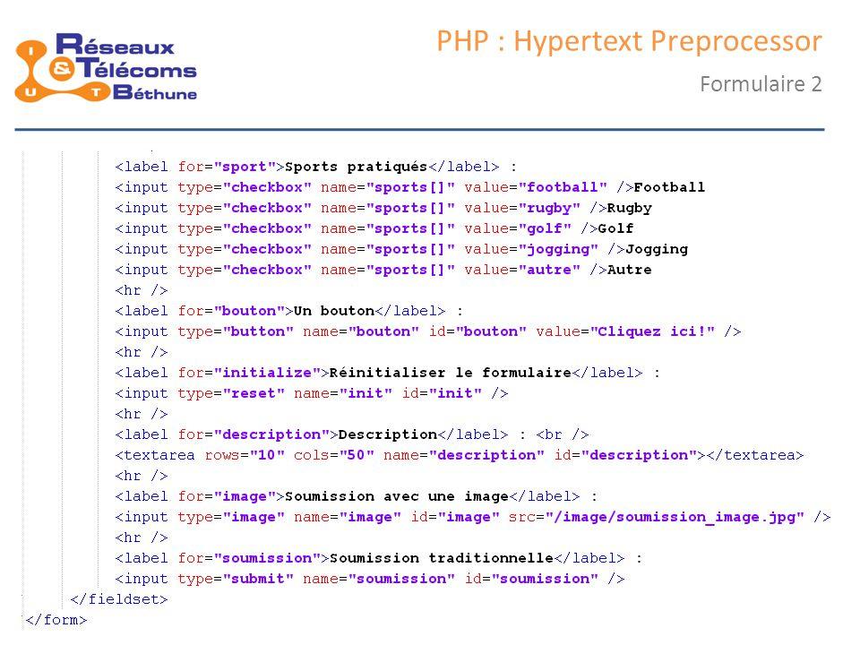 samedi 25 octobre 2014IC3 : cours 127 PHP : Hypertext Preprocessor Formulaire 2