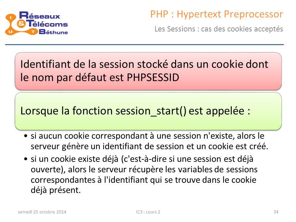 samedi 25 octobre 2014IC3 : cours 234 PHP : Hypertext Preprocessor Les Sessions : cas des cookies acceptés Identifiant de la session stocké dans un cookie dont le nom par défaut est PHPSESSID Lorsque la fonction session_start() est appelée : si aucun cookie correspondant à une session n existe, alors le serveur génère un identifiant de session et un cookie est créé.