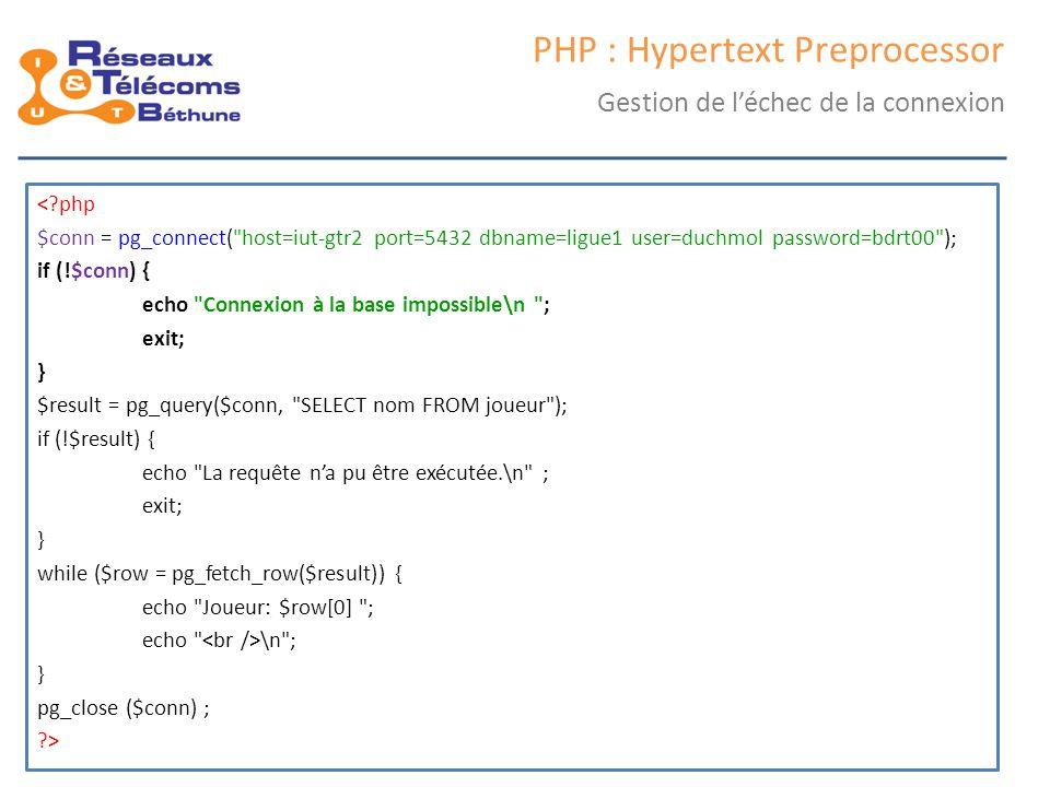 samedi 25 octobre 2014IC3 : cours 245 PHP : Hypertext Preprocessor Gestion de l'échec de la connexion <?php $conn = pg_connect(