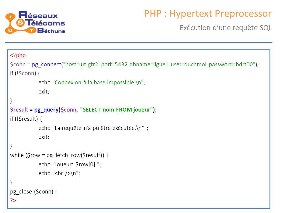 samedi 25 octobre 2014IC3 : cours 246 PHP : Hypertext Preprocessor Exécution d'une requête SQL <?php $conn = pg_connect(