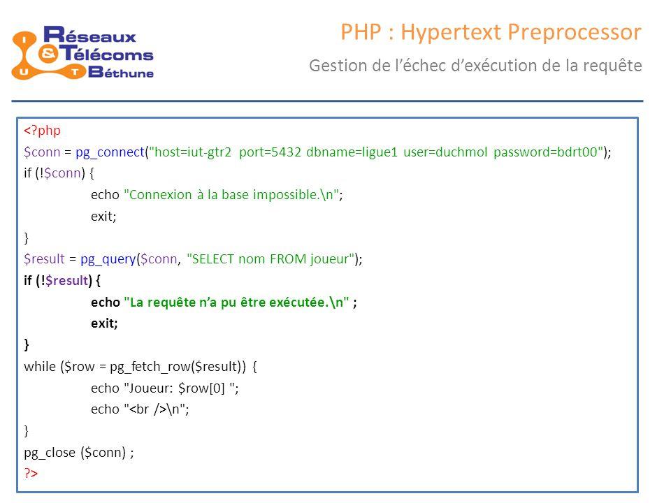 samedi 25 octobre 2014IC3 : cours 247 PHP : Hypertext Preprocessor Gestion de l'échec d'exécution de la requête <?php $conn = pg_connect(