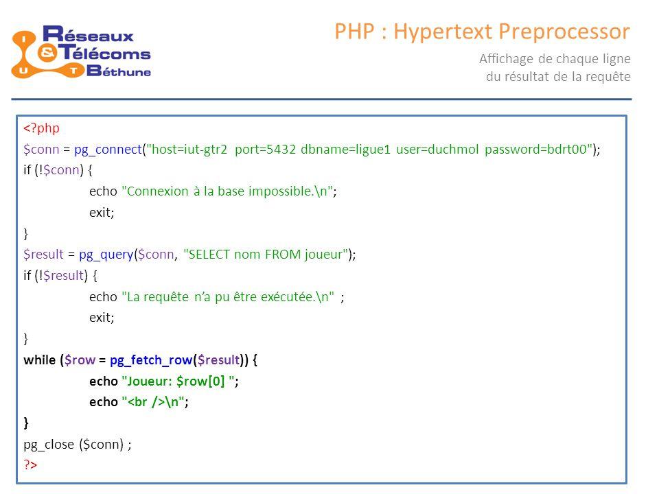 samedi 25 octobre 2014IC3 : cours 248 PHP : Hypertext Preprocessor Affichage de chaque ligne du résultat de la requête <?php $conn = pg_connect(