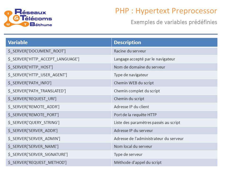 samedi 25 octobre 2014IC3 : cours 18 PHP : Hypertext Preprocessor Les types Non nécessaire de déclarer, mais il faut les connaître Booléens ( boolean ), entiers ( integer ), flottants ( float , double ), chaînes ( string ) Types de données Affichage :