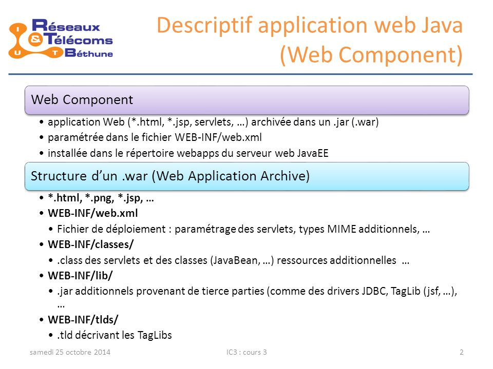 Descriptif application web Java (Web Component) Web Component application Web (*.html, *.jsp, servlets, …) archivée dans un.jar (.war) paramétrée dans