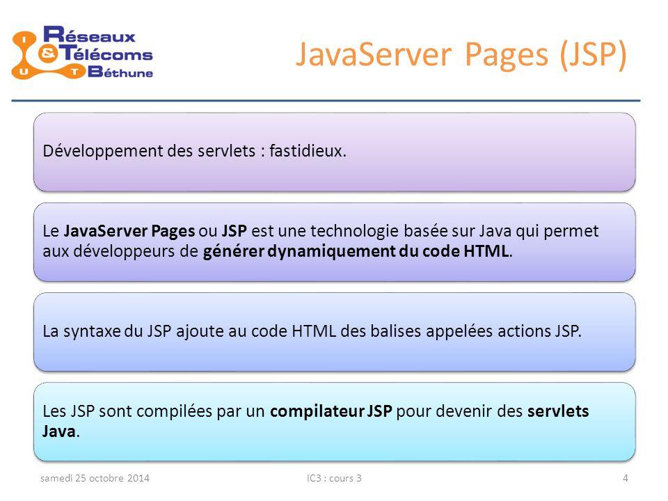 Connexion à une BD PostGreSQL samedi 25 octobre 2014IC3 : cours 335 <% Connection c = null; try { Class.forName( org.postgresql.Driver ); c = DriverManager.getConnection ( jdbc:postgresql://machineServeur/maBase , user , password ); System.out.println( Connexion à la base \ maBase\ réussie ); } catch(SQLException e) { System.out.println( Connexion impossible : + e.toString() + ); } %> Chargement du pilote faisant le lien entre l'application java et le SGDB Java DataBase Connectivity Connexion à maBase