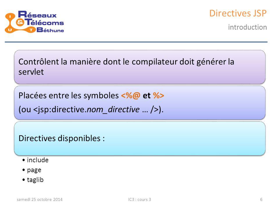 Traitement d'une requête samedi 25 octobre 2014IC3 : cours 337 Une instance de la classe ResultSet contient la table résultat d'une requête.