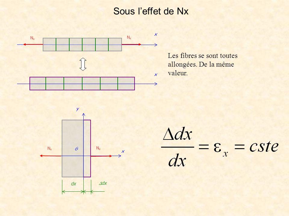NxNx NxNx x x x dx  dx G y NxNx NxNx Les fibres se sont toutes allongées. De la même valeur. Sous l'effet de Nx