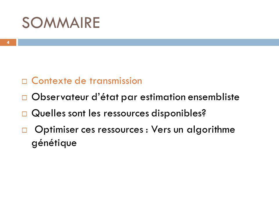 SOMMAIRE 4  Contexte de transmission  Observateur d'état par estimation ensembliste  Quelles sont les ressources disponibles?  Optimiser ces resso