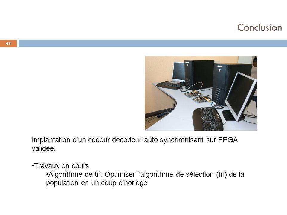 45 Conclusion Implantation d'un codeur décodeur auto synchronisant sur FPGA validée. Travaux en cours Algorithme de tri: Optimiser l'algorithme de sél