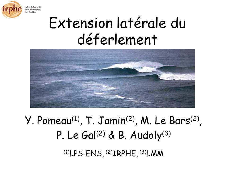 Extension latérale du déferlement Y. Pomeau (1), T.