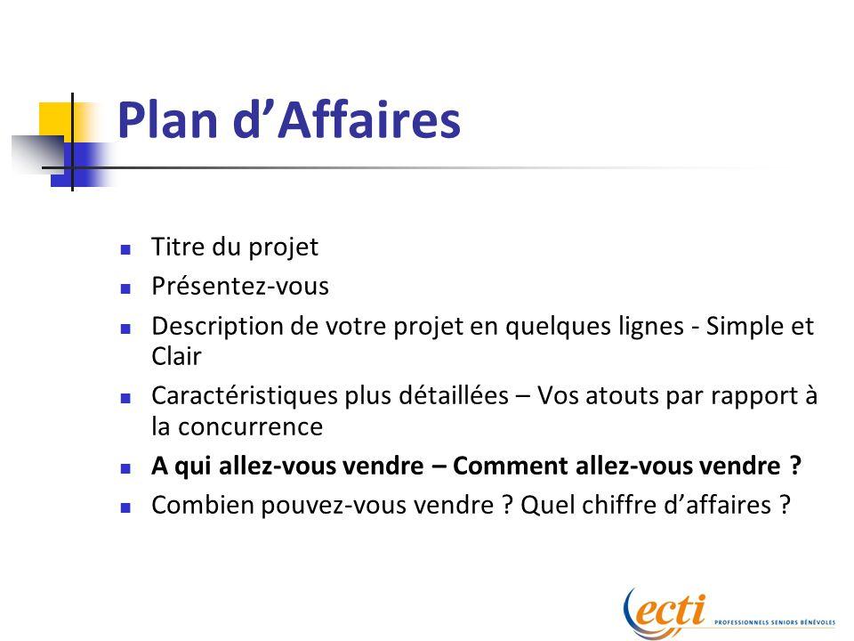 Plan d'Affaires Titre du projet Présentez-vous Description de votre projet en quelques lignes - Simple et Clair Caractéristiques plus détaillées – Vos