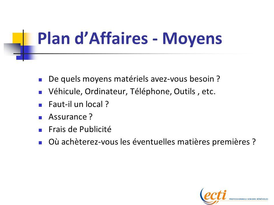 Plan d'Affaires - Moyens De quels moyens matériels avez-vous besoin .