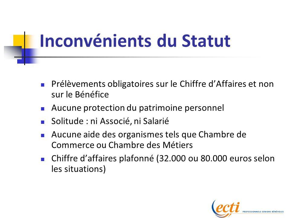 Inconvénients du Statut Prélèvements obligatoires sur le Chiffre d'Affaires et non sur le Bénéfice Aucune protection du patrimoine personnel Solitude