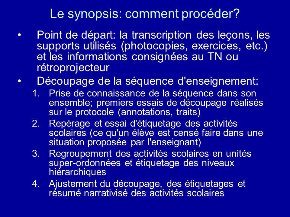 Le synopsis: comment procéder? Point de départ: la transcription des leçons, les supports utilisés (photocopies, exercices, etc.) et les informations