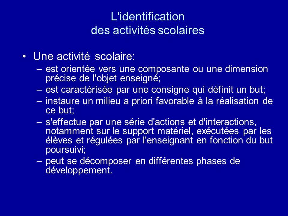 L'identification des activités scolaires Une activité scolaire: –est orientée vers une composante ou une dimension précise de l'objet enseigné; –est c