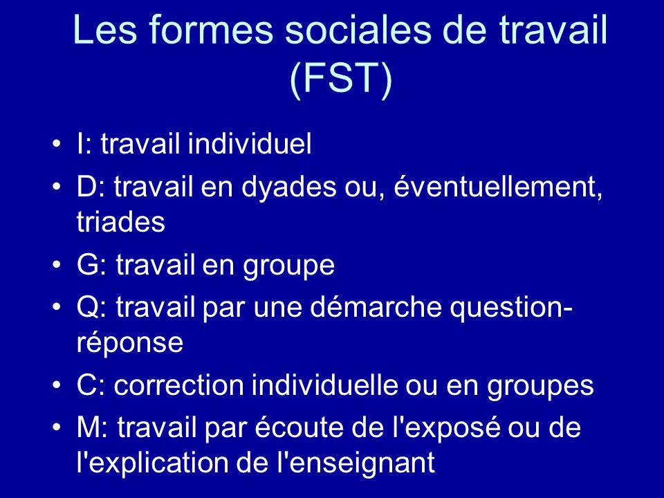 Les formes sociales de travail (FST) I: travail individuel D: travail en dyades ou, éventuellement, triades G: travail en groupe Q: travail par une dé