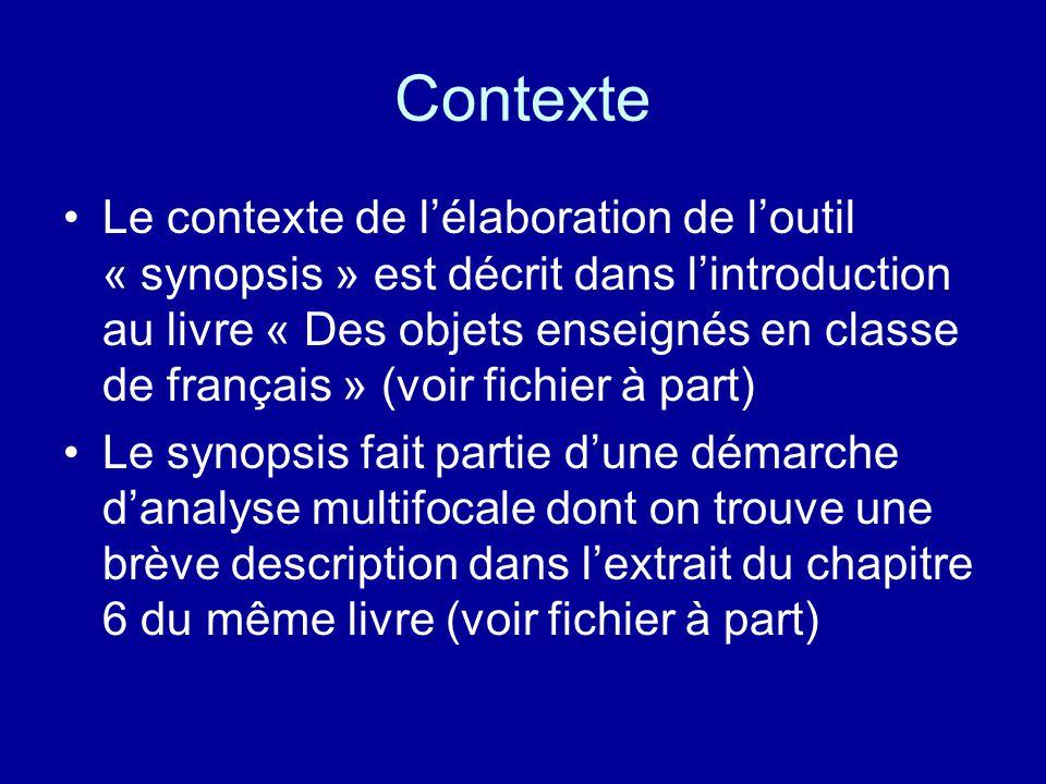 Contexte Le contexte de l'élaboration de l'outil « synopsis » est décrit dans l'introduction au livre « Des objets enseignés en classe de français » (