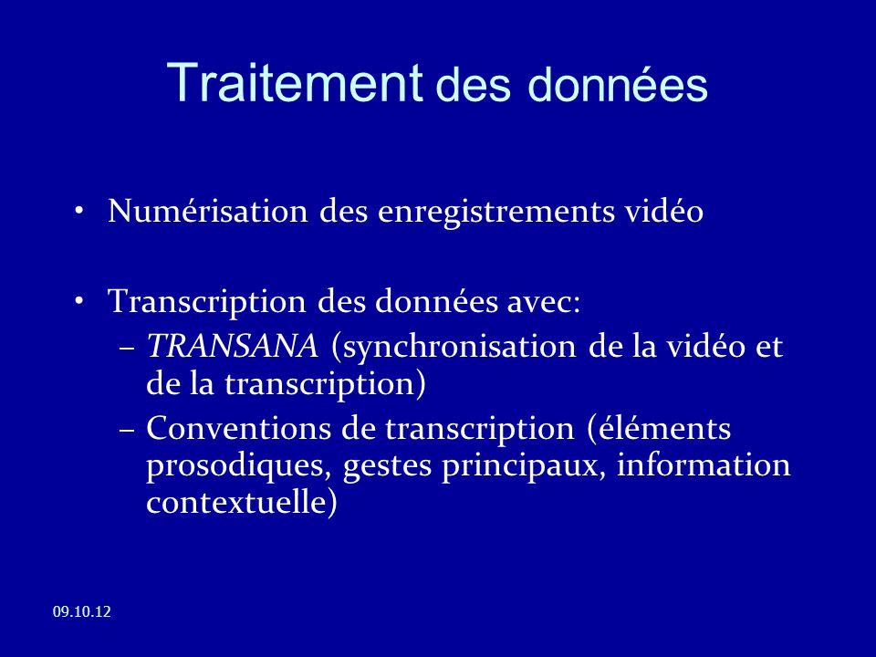 Numérisation des enregistrements vidéo Transcription des données avec: –TRANSANA (synchronisation de la vidéo et de la transcription) –Conventions de