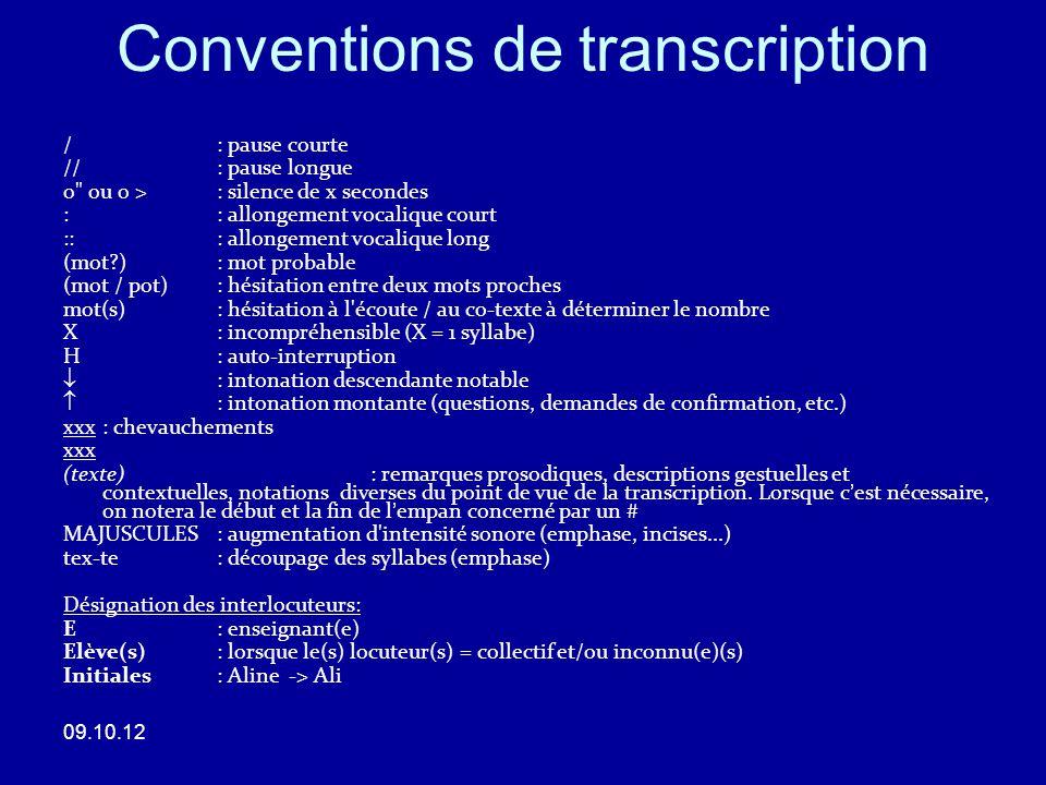 Un exemple de transcription (GRAFE) 09.10.12