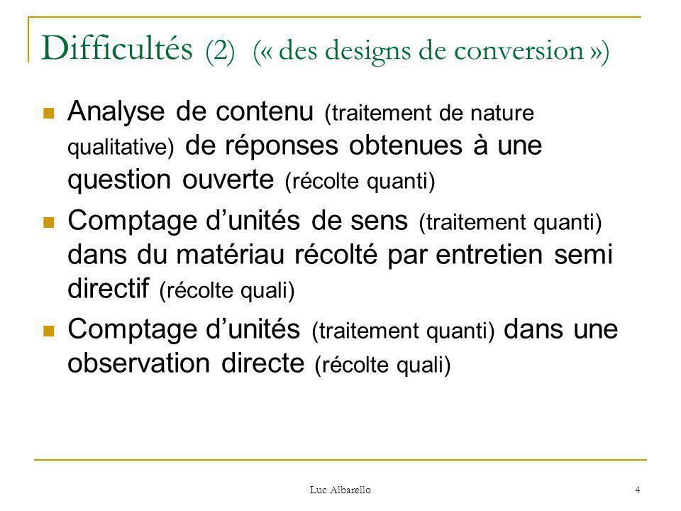 Luc Albarello 4 Difficultés (2) (« des designs de conversion ») Analyse de contenu (traitement de nature qualitative) de réponses obtenues à une question ouverte (récolte quanti) Comptage d'unités de sens (traitement quanti) dans du matériau récolté par entretien semi directif (récolte quali) Comptage d'unités (traitement quanti) dans une observation directe (récolte quali)