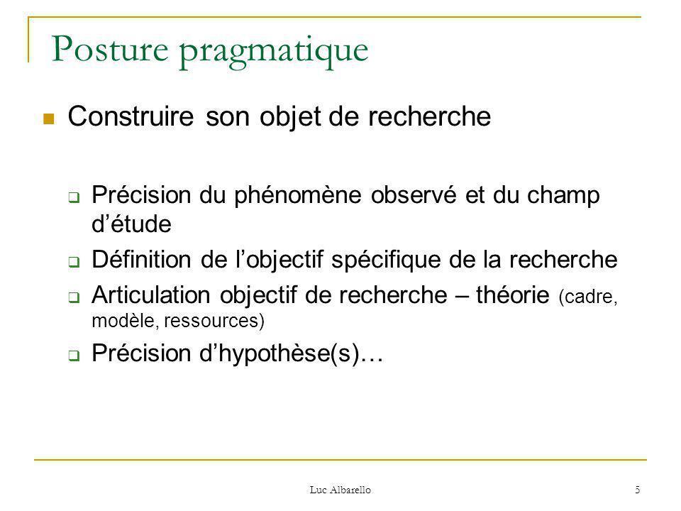 Luc Albarello 5 Posture pragmatique Construire son objet de recherche  Précision du phénomène observé et du champ d'étude  Définition de l'objectif spécifique de la recherche  Articulation objectif de recherche – théorie (cadre, modèle, ressources)  Précision d'hypothèse(s)…