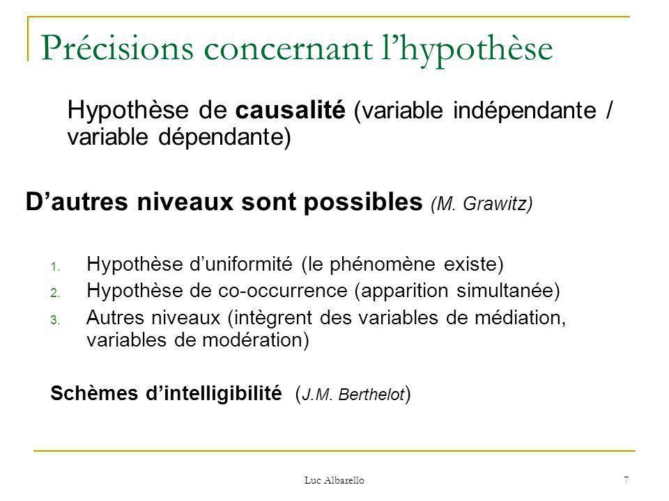 Luc Albarello 7 Précisions concernant l'hypothèse Hypothèse de causalité (variable indépendante / variable dépendante) D'autres niveaux sont possibles (M.