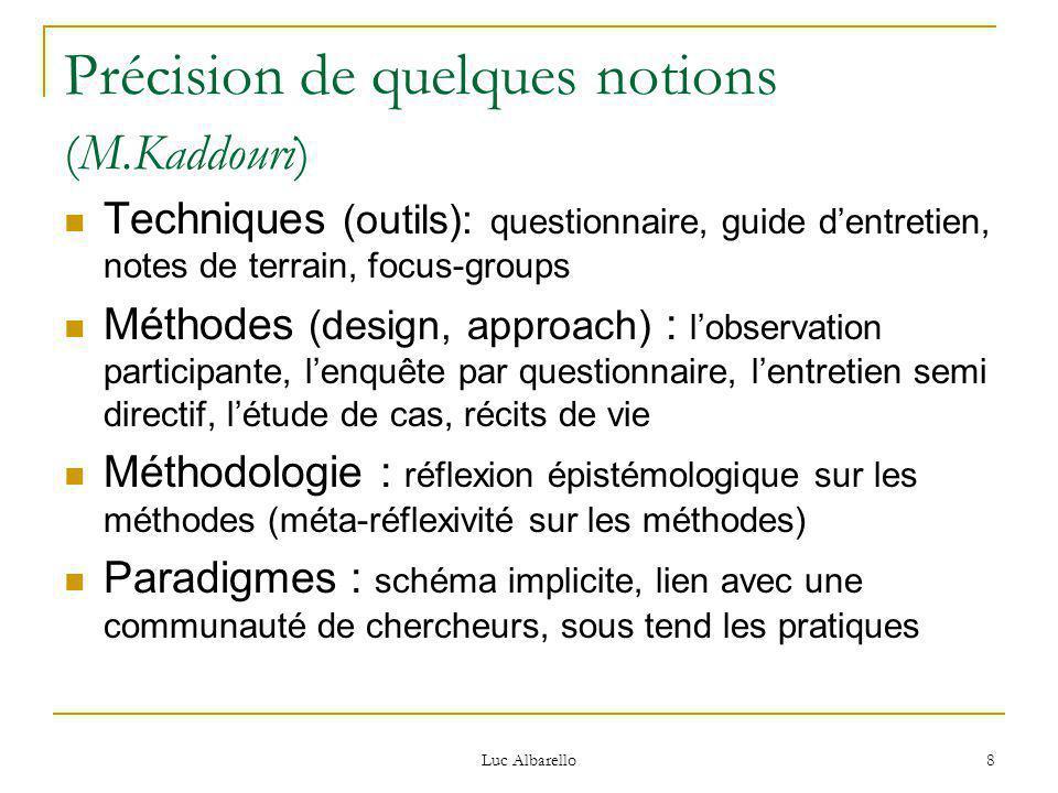 Luc Albarello 8 Précision de quelques notions (M.Kaddouri) Techniques (outils): questionnaire, guide d'entretien, notes de terrain, focus-groups Métho