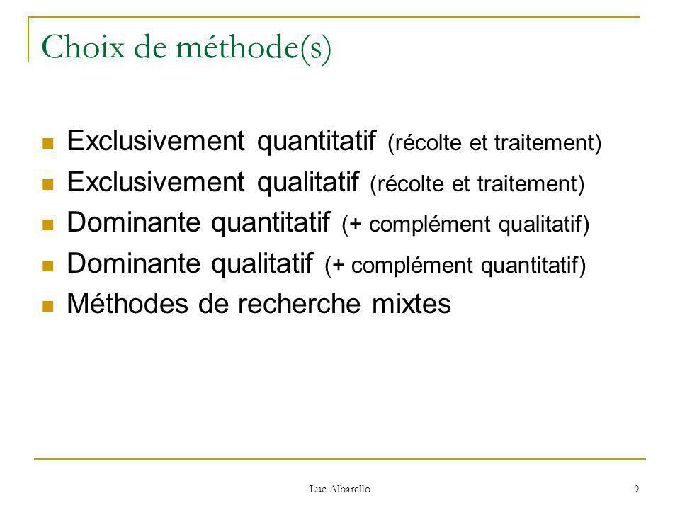 Luc Albarello 9 Choix de méthode(s) Exclusivement quantitatif (récolte et traitement) Exclusivement qualitatif (récolte et traitement) Dominante quantitatif (+ complément qualitatif) Dominante qualitatif (+ complément quantitatif) Méthodes de recherche mixtes