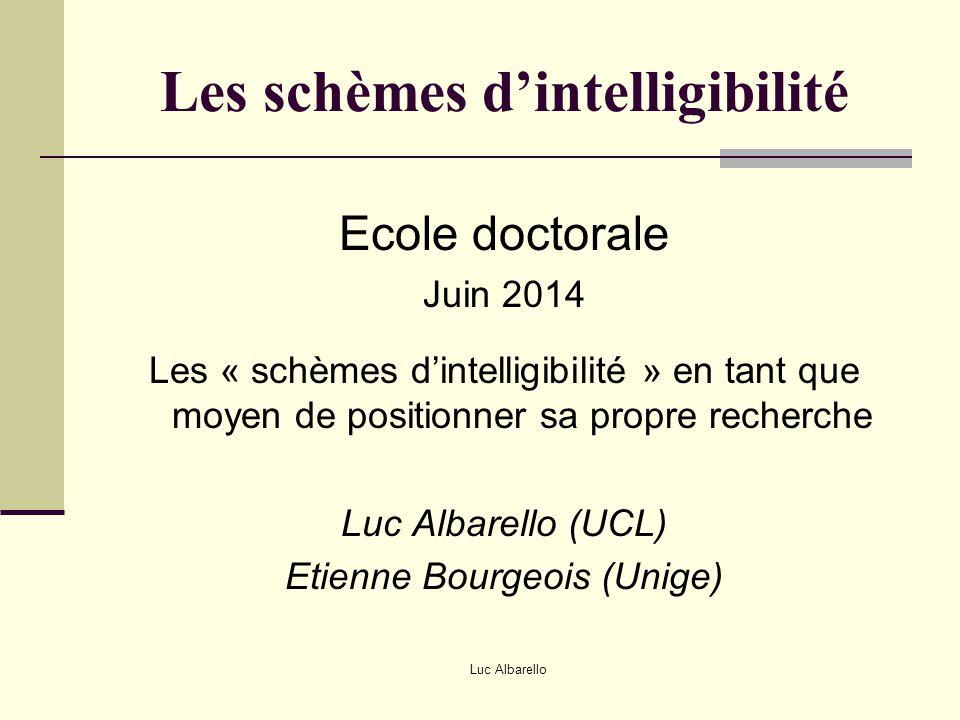 Luc Albarello Les schèmes d'intelligibilité Ecole doctorale Juin 2014 Les « schèmes d'intelligibilité » en tant que moyen de positionner sa propre rec
