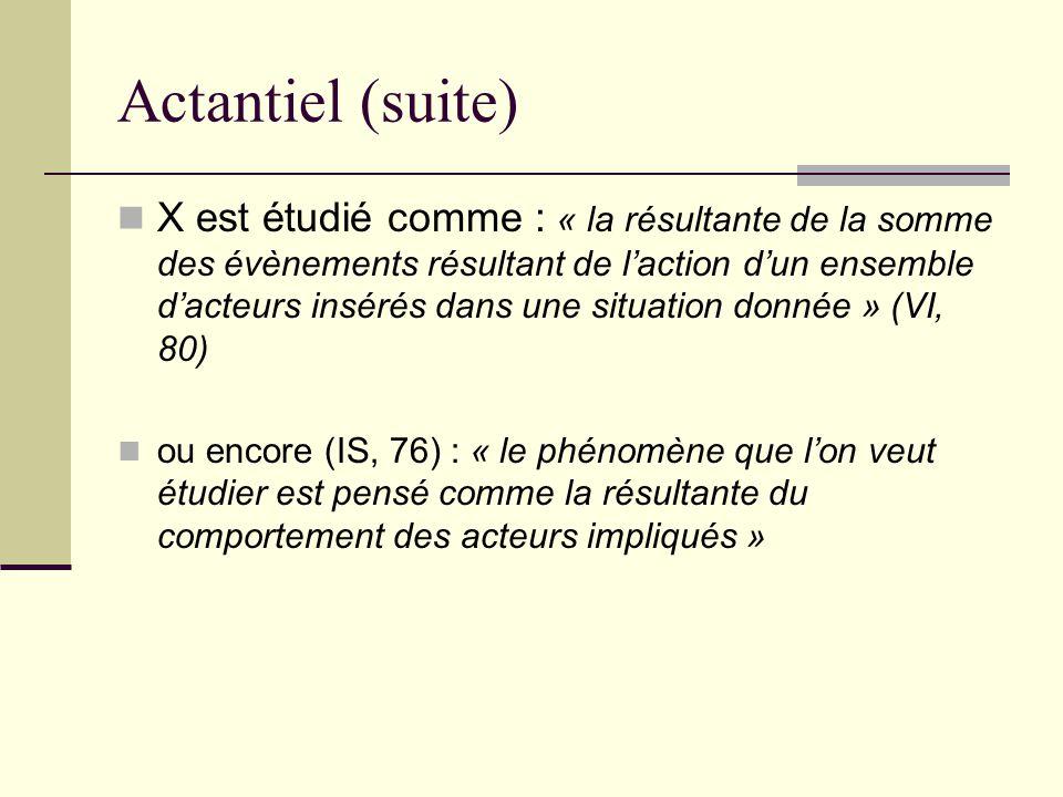 Actantiel (suite) X est étudié comme : « la résultante de la somme des évènements résultant de l'action d'un ensemble d'acteurs insérés dans une situa