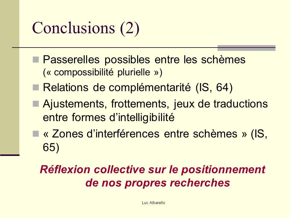 Luc Albarello Conclusions (2) Passerelles possibles entre les schèmes (« compossibilité plurielle ») Relations de complémentarité (IS, 64) Ajustements