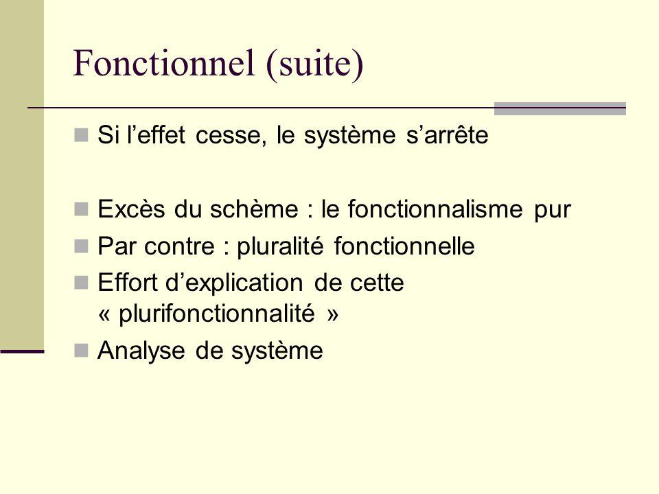 Fonctionnel (suite) Si l'effet cesse, le système s'arrête Excès du schème : le fonctionnalisme pur Par contre : pluralité fonctionnelle Effort d'expli