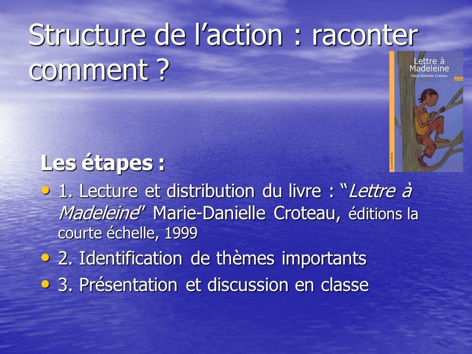 """Structure de l'action : raconter comment ? Les étapes : 1. Lecture et distribution du livre : """"Lettre à Madeleine"""" Marie-Danielle Croteau, éditions la"""