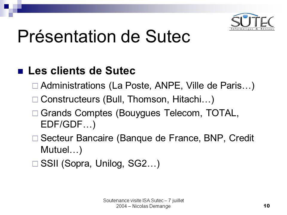 Soutenance visite ISA Sutec – 7 juillet 2004 – Nicolas Demange10 Présentation de Sutec Les clients de Sutec  Administrations (La Poste, ANPE, Ville d